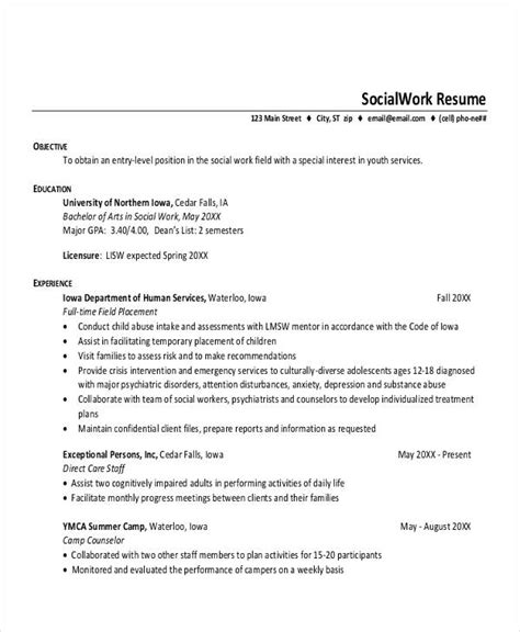 Entry Level Social Work Resume by 15 Printable Work Resume Templates Pdf Doc Free