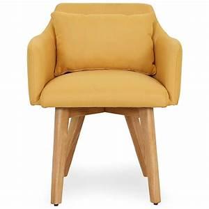 Chaise Scandinave Jaune : chaise scandinave avec accoudoir tissu jaune kendi ~ Teatrodelosmanantiales.com Idées de Décoration