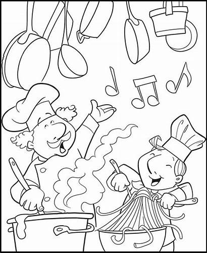 Coloring Chef Pages Kitchen Cooking Fun Cook