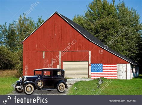 Picture Of Vintage Car By Barn