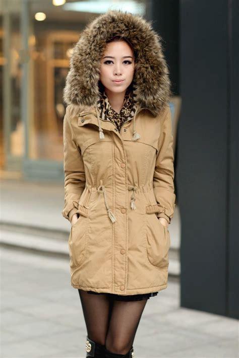 ochre womens winter coats faux fur lining parka  fur