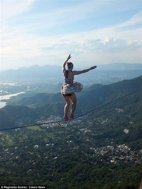 woman  rope walking  high heels walked   high