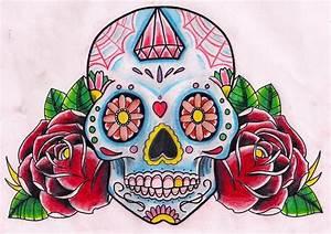 Sugar Skull + Roses by Kirzten on DeviantArt
