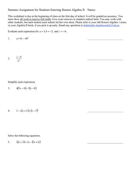 17 best images of honors algebra 1 worksheets printable