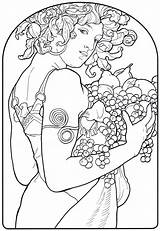 Coloring Pages Nouveau Mucha Pomegranate Alphonse Classic Pom Artworks Printable Books Deco Colouring Sheets Popular Behind Adults Scenes Coloringhome Getcolorings sketch template
