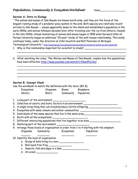 populations and communities worksheet population community ecosystem worksheet science