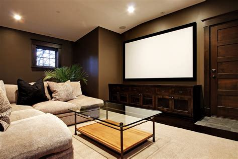 Media Room Projection Screen Home Theater Rustic With