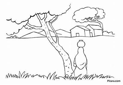 Village Coloring Pages Indian Woman Drawing Water
