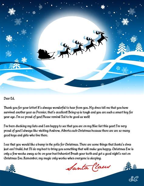 leaked santa claus letter  premier ed stelmach