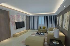TV wall mural design for modern minimalist living room