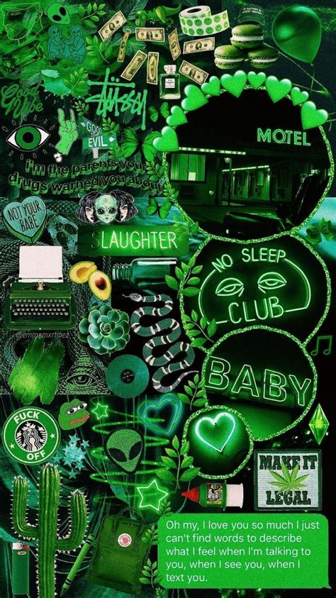 aesthetic anime green collage wallpapers