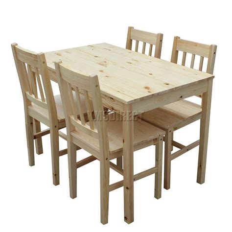 foxhunter quality solid wooden dining table   chairs set kitchen ds pine ebay