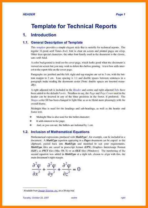 technical report template introduction letter