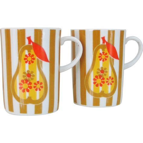 Though the price of coffee has experienced some occasional dips and spikes from 1920 onward, the cost of brewing a cup at home has remained remarkably steady. Vintage 1960s 1970s Mod Pear and Stripes Pair of Coffee ...