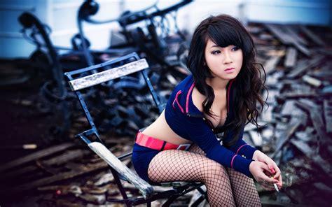 women cleavage stockings smoking legs asians walldevil