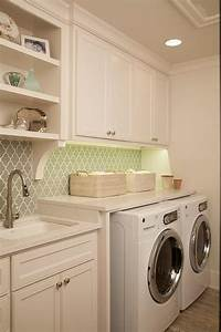 Small space for laundry room with black slate floor by for Under cabinet washer and dryer