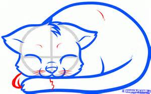 how to a cat how to draw a sleeping cat sleeping cat step by step