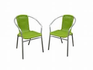 Chaise De Jardin Aluminium : lot de 2 chaises jardin aluminium r sine tress e diabolo ~ Teatrodelosmanantiales.com Idées de Décoration