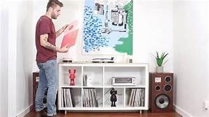 DIY Media Record Console Ikea Hack Kallax Bookcase