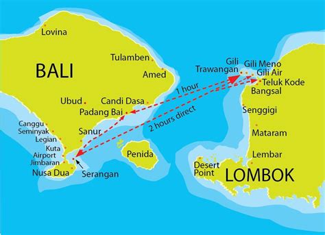 gili trawangan map fastboat routes indonesia bali