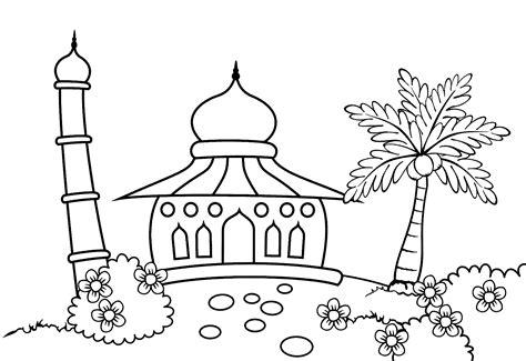 mewarnai gambar masjid untuk anak tk belajarmewarnai info