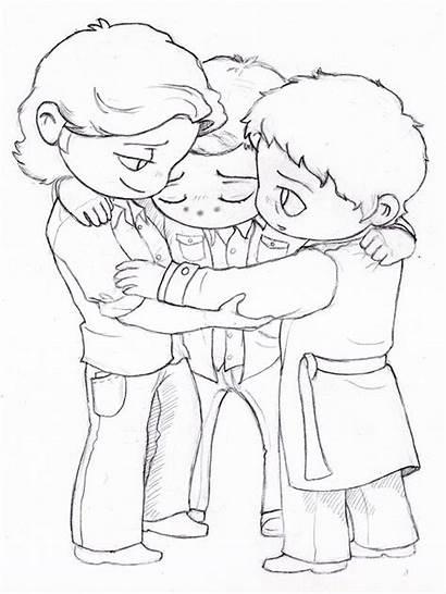 Hug Dean Sam Cas Supernatural Coloring Drawing