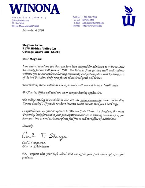 What Does A Acceptance Letter Look Like by Wsu Acceptance Letter Meghan Avise S Professional Portfolio