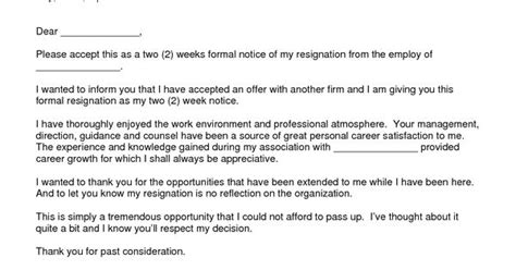 letter  resignation  weeks notice template ew