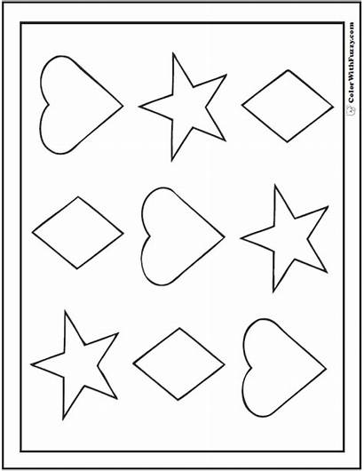 Coloring Shape Pages Hearts Shapes Stars Printable