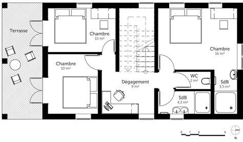 plan maison simple 3 chambres plan maison à étage avec terrasse ooreka