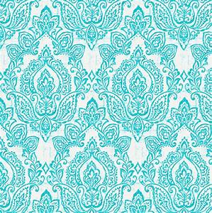 White and Teal Vintage Damask Fabric by the Yard Teal