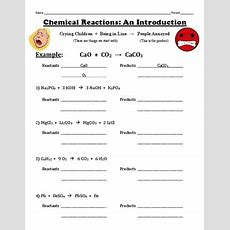 Introduction To Chemical Reactions Worksheet By Chemistry
