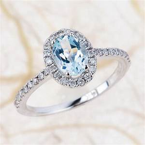 aquamarine engagement ring 7x5mm oval aquamarine wedding With aquamarine diamond wedding ring