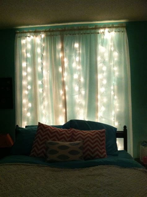 my headboard sheer curtains with lights hung
