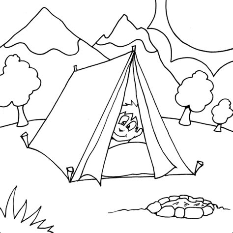 boy camping colouring page