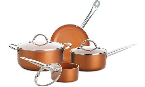 titanium copper ceramic cookware set   cup muffin pan  piece groupon