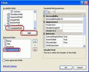 using templatefields in the gridview control c the With template field in asp net