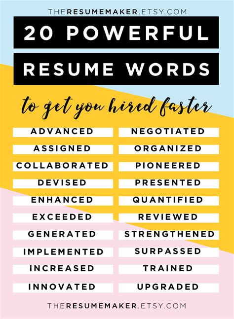 Words For Resumes by Resume Power Words Free Resume Tips Resume Template
