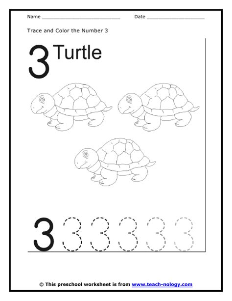 number 3 worksheets printable these some of the cutest turtles work with our fading threes how