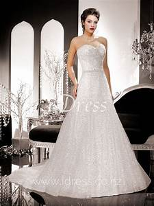 Sparkly sequin embroidered a line sweetheart strapless for Sequined wedding dress