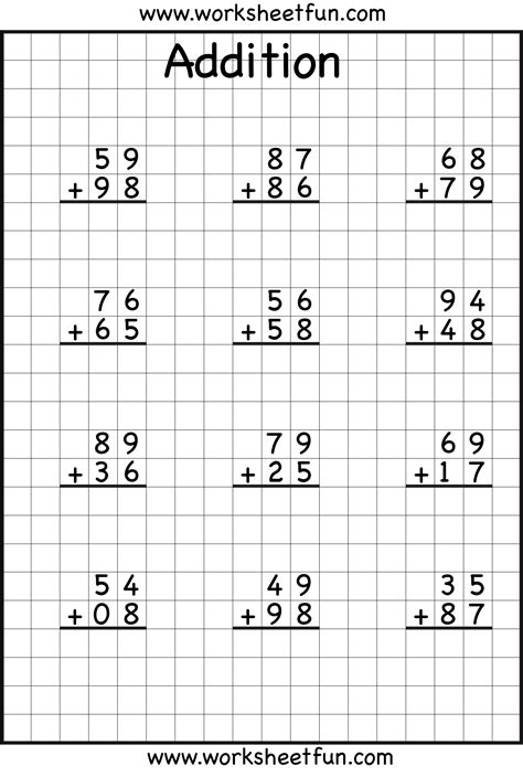 2 digit addition with regrouping carrying 5 worksheets