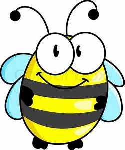 Cartoon cute striped little bumble bee or honey bee with a ...