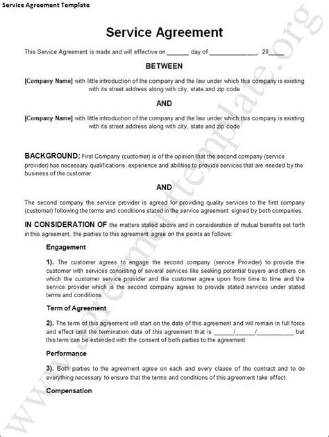 service agreement template free agreement template category page 1 efoza