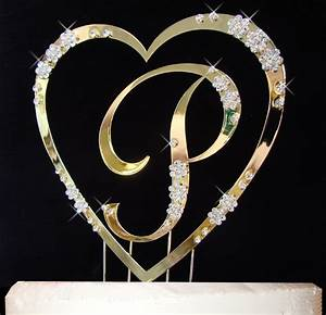 Gold Single Heart with Monogram Crystal Cake Topper Set