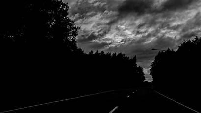 Dark Road Trees Turn Background 720p Bw