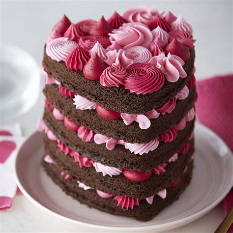 heart shaped cake  pink layers wilton