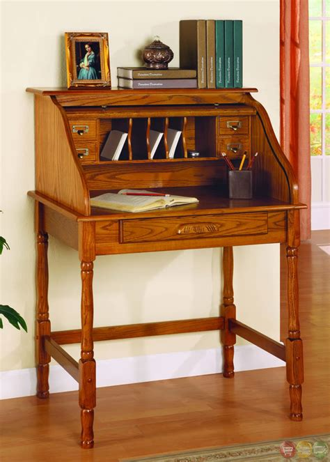 roll top secretary desk old world oak finish roll top secretary office desk ebay