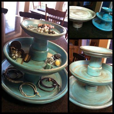turn dollar store terra cotta planters  jewelry tower
