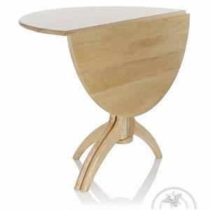 Table de salle à manger pliante ronde en bois naturel Lund Saulaie