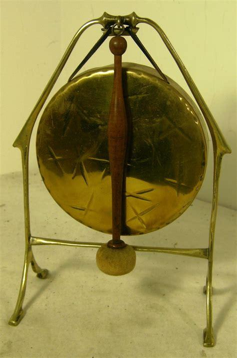 art nouveau brass dinner gong stand hammer